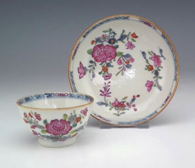 Antique Chinese Porcelain - Hand Painted Flower Decorated - Tea Bowl & Saucer