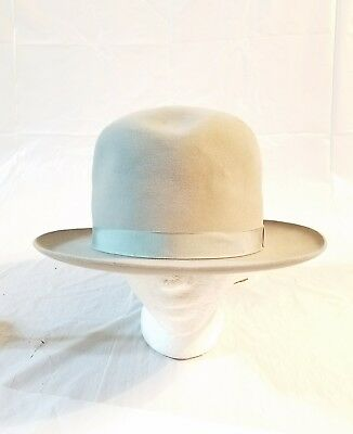 Vintage Royal Stetson Playboy Gray Fedora Hat with Gray Band - Size 5/8