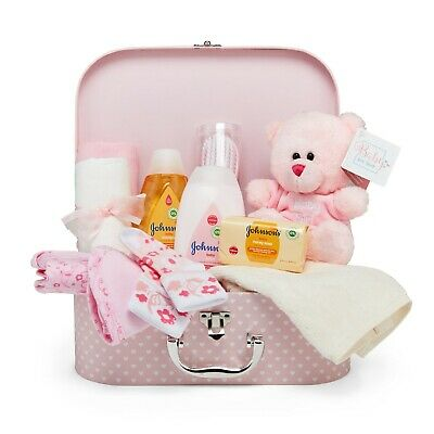 Baby Shower Gift Box – Pink with Baby Clothes, Teddy Bear & Bath Time Set
