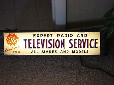 1940's General Electric ~ Television & Radio Service ~ Display Counter Sign Rare