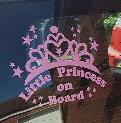 Little Princess on Board Car Window Vinyl / Sticker Decal in 8 colours