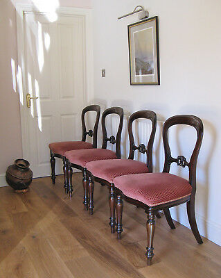 Set of 4 Victorian Style Mahogany Balloon Back Dining Chairs Over-Stuffed Seats