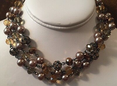 Vintage Retro Triple Strand Mushroom Crystal Rhinestone Pearl Bead Necklace