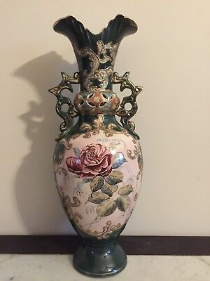 Large Antique Victorian Vase Ceramic Pottery Hand Painted Asian Gilding Rose
