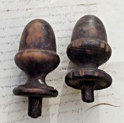 Pair Antique French Wood Finials Oak Georgian wooden Furniture embellishments