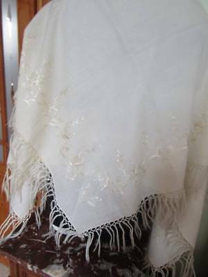 Lovely Vintage Unused Fine Wool Shawl with Embroidery To All Four Edges