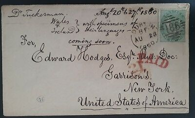 RARE 1860 Great Britain (Ireland) Cover ties 1/- green QV stamp to New York