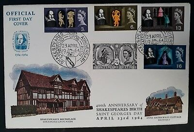 SCARCE 1964 Great Britain 400th Anniv of Birth of Shakespeare FDC ties 5 stamps