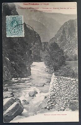 """RARE 1916 Spain (Andorra) Postcard """"Les Pyrenees Gorge"""" ties Alfonso XIII stamp"""