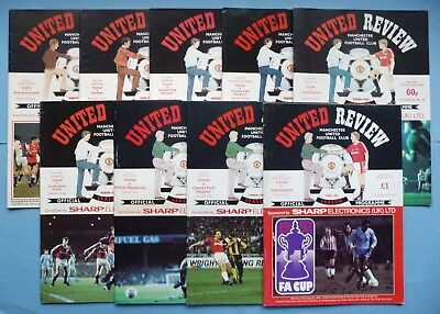 1985-1992 Manchester United  9 home fa cup programmes - all listed with tokens