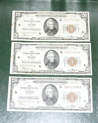 3 Consecutive 1929 US $20 Federal Reserve Bank Note Chicago Fr. 1870-G