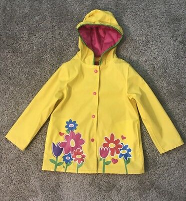 Wippette Kids Rain Coat Yellow with flowers , Girls size 4