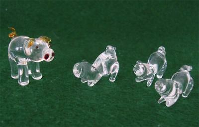 Vintage 4 Clear Glass Miniature Pigs - Mother w Gold Tail & Ears & 3 Piglets