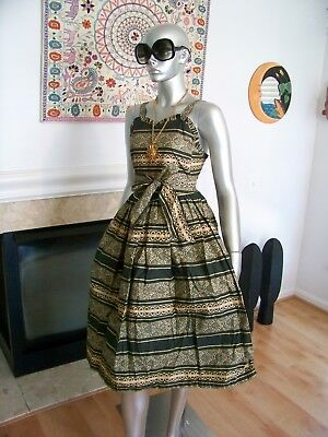 Vtg Rare INDIA Festival FLORAL Belted COCKTAIL Ruffle SWING Dress AMAZING!!