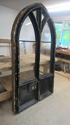 GOTHIC DOORS+FRAME ANTIQUE PERIOD RECLAIMED OLD WOOD GLAZED FRENCH 1600s RARE.