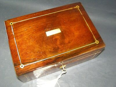 Antique Rosewood Box Working Lock & Key Mother Of Pearl Roundels & Center Piece