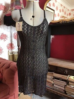 Slip Dress Sheer Cami Mini Dress All Over Lace Vintage M&S Size 8