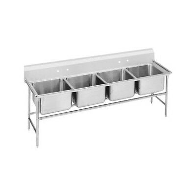 "Advance Tabco 940 Series 89"" x 31"" Seamless Bowl 4 Compartment Scullery Sink"