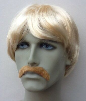 Short Blonde Mens Fancy Dress Wig & Droop Blonde Moustache
