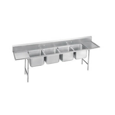 "Advance Tabco 930 Series 97"" x 27"" Seamless Bowl 4 Compartment Scullery Sink"