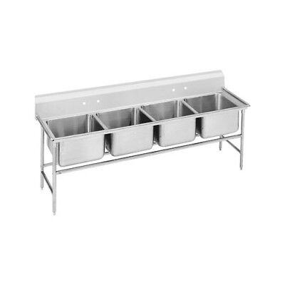 "Advance Tabco 940 Series Seamless Bowl 113"" x 31"" 4 Compartment Scullery Sink"