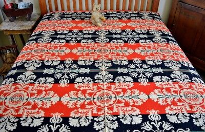 Antique 19th century Two Panel Coverlet Signed & Dated 1849
