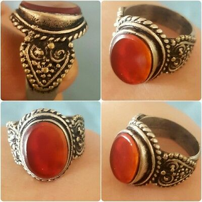 Rare Old Agate Medieval Stone mix Silver RING