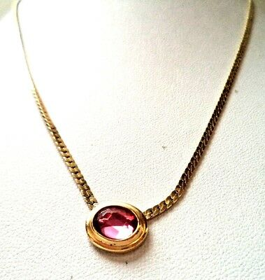 "Stunning Vintage Estate Signed Avon Pink Rhinestone Gold Tone 18"" Necklace 9757F"