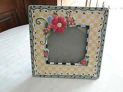 Vintage Mary Engelbreit 1998 Ceramic Green & Yellow Frame with Flowers