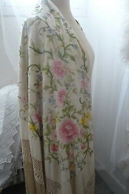 Beautiful Antique  Silk Embroidered Piano Shawl Large With Fringe