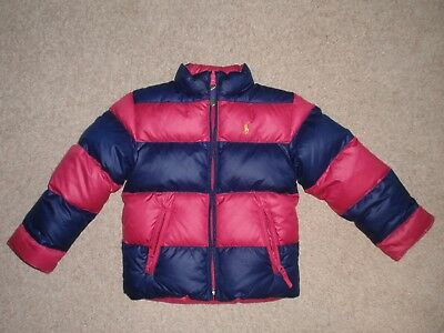 Girls Sz 5 Polo Ralph Lauren Reversible Goose Down Puffer Jacket Coat Pink Blue