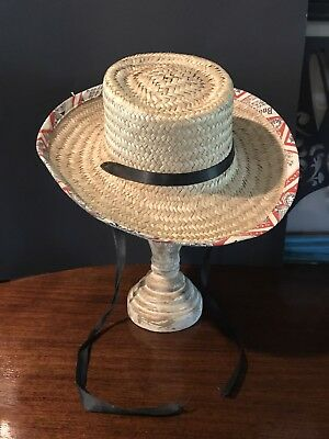 500213199e1 Vintage Womens Budweiser trim Straw Wicker Farmer Sun Hat Lake Beach Ribbon
