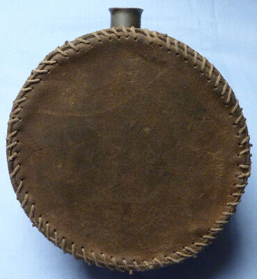 19Th Century Military Water Canteen - Hand-Stitched Covering - Us Civil War