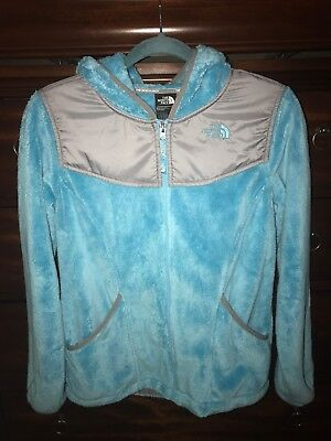 Girl's The North Face Turquoise Blue Hooded Fleece Jacket XL Size 18 Girl's Like