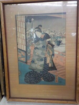 Antique Japanese Signed Woodblock in Wood Frame