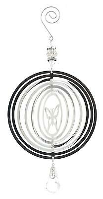 Silver Colour Butterfly Wind Spinner - Metal Garden Home Decoration Ornament