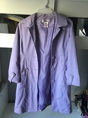 Girls Spring Jacket 3/4 Length 7/8 Lavender Purple PVC Shell Polyester Lining