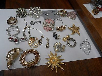 24 PIECE LOT OF DESIGNER  ANTIQUE PINS INC 2 Prs  BLACK ONYX EARRINGS,some ss