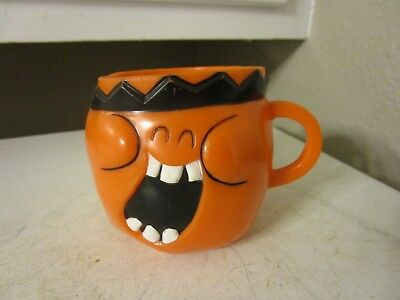 VINTAGE Pillsbury Kool Aid Plastic Funny Face Cups and Mug ORANGE ESTATE FIND