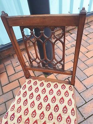 Edwardian mahogany chair with inlay and a lovely desighned on back