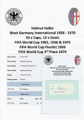 Helmut Haller West Germany 1958-1970 Rare Original Autograph Cutting/Card