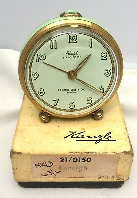 Superb Vintage Kienzle Piano-Forte Green & Gold Alarm Clock In Original Box