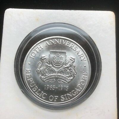 Large  Gem BU. Silver Singapore 1975 Dollar~10th Anniversary Of Independence