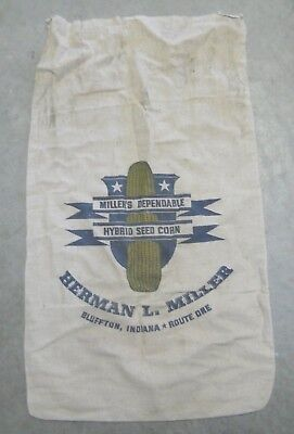 MILLER'S DEPENDABLE HYBRID SEED CORN, Herman L. Miller, Bluffton, In. Seed Bag