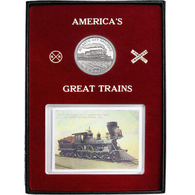 Train Atlantic City Railroad 442 Type 1oz .999 Silver Medallion Box Set