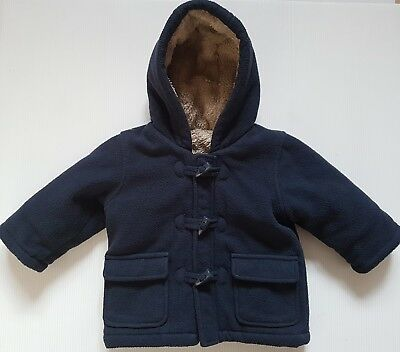 Mothercare Boys Age 6 - 9 Months Navy Warm Cosy Hooded Duffle Style Coat Jacket