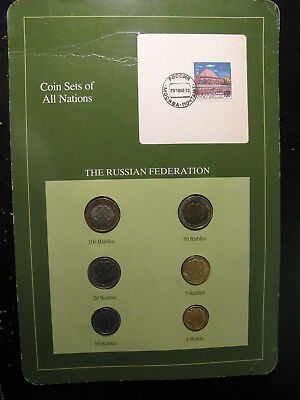 """Russia, Six Different 1992 Dated Coins On A """"coins Of All Nations"""" Card, Nice !"""
