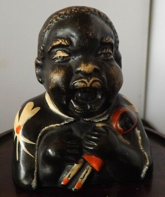 Vintage Unusual ZULU BABY Pottery Girl/Baby with Doll Hand Painted 4 inch tall