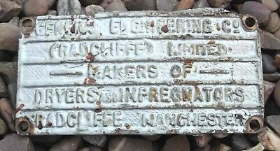 Vintage Machine Plaque General Engineering Co Manchester Brass Makers Plate