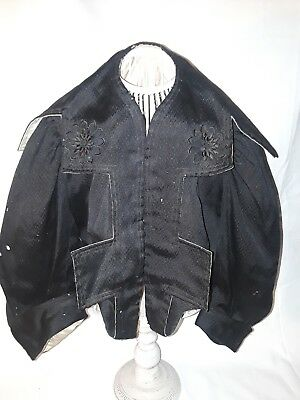 ANTIQUE VICTORIAN BLACK WOOL SUIT JACKET X Small